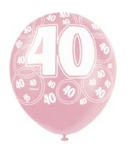 40th Birthday Pink Glitz Latex Balloons 12 inch
